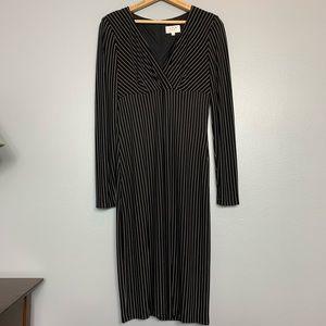 DAVID MEISTER | black pinstripe midi dress 8